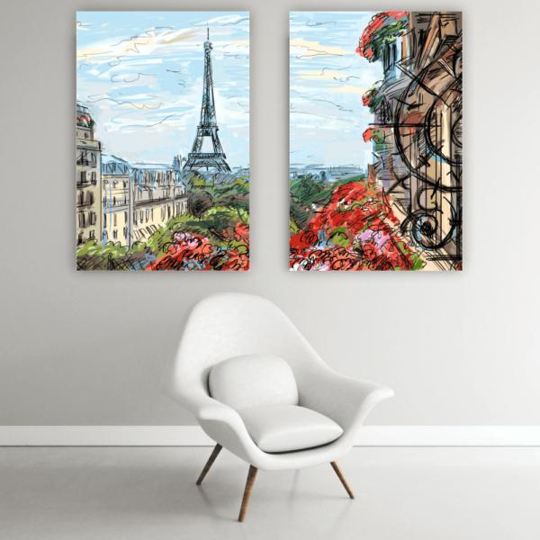 Quadro Flores e Torre Eiffel - 3517