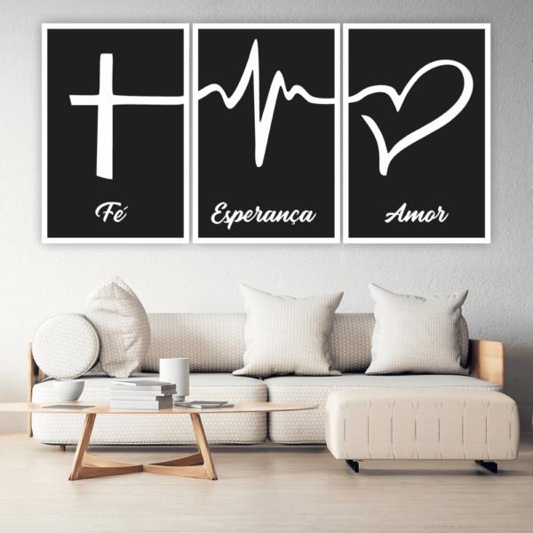 Quadro Fé, Esperança e Amor Preto - 4502