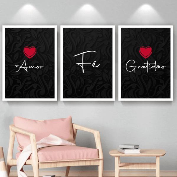 Quadro Amor Fé e Gratidão - 1018