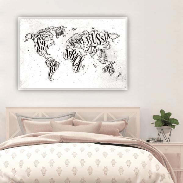 Quadro Mapa Mundi Desenho - 2790
